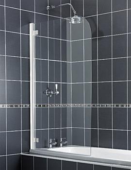 Aqua 5 Radius Bath Screen 850mm With White Hinge - FS6130AQU