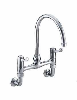 Bristan Value Lever Wall Mounted Kitchen Sink Mixer Tap - 6 inch Lever