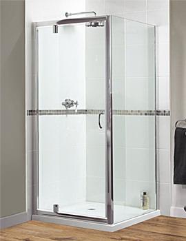 Aqualux Shine Xtra 800mm Pivot Door Polished Silver - FEN0997AQU