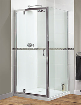 Aqualux Shine Xtra 760mm Pivot Door Polished Silver - FEN0996AQU