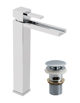 Vado Te Falls Extended Mono Basin Mixer Tap With Clic-Clac Waste