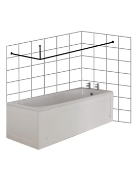 Small L Shaped To Wall Shower Curtain Rod And Ceiling Support