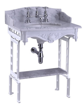 Burlington Sarah Marble Slab With White Aluminium Wash Stand And Shelf