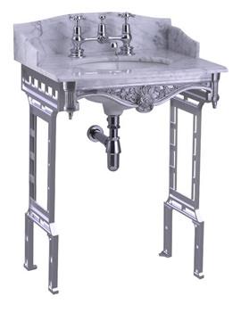Burlington Sarah Carrara Marble Slab With Polished Aluminium Wash Stand