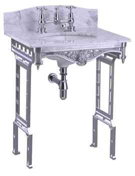 Burlington Margavine Marble Slab With Polished Aluminium Wash Stand