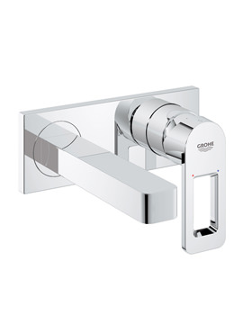 Quadra Wall Mounted 2 Hole Basin Mixer Tap With Metal Plate