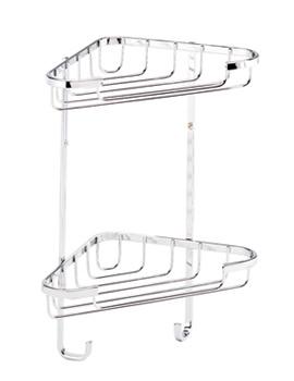 Croydex Stainless Steel Medium 2 Tier Corner Basket - QM390241