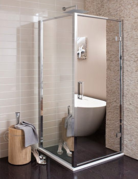 Elite Mirrored 900mm Hinged Shower Door - MHDSC0900