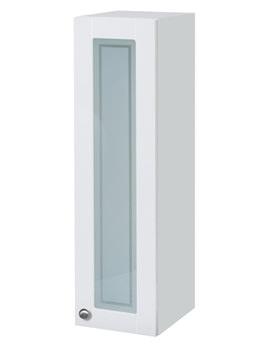 Balterley White Gloss Shaker 300mm Tall Glass Door Wall Cabinet