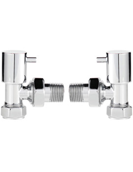 Pair Of Angled Minimalist Chrome Radiator Valves
