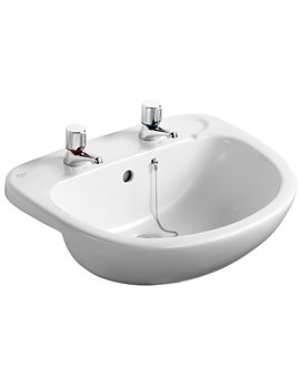 Studio 560mm Semi-Countertop Basin With 2 Tapholes