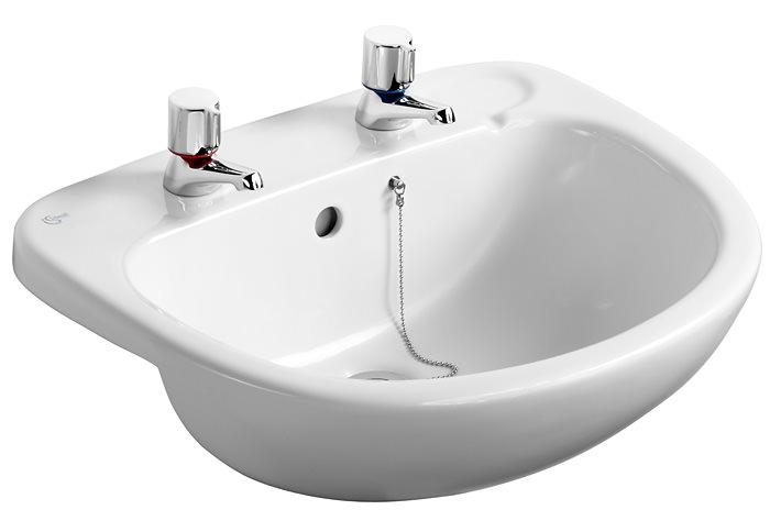 ideal standard studio 560mm semi countertop basin with 2 tapholes. Black Bedroom Furniture Sets. Home Design Ideas