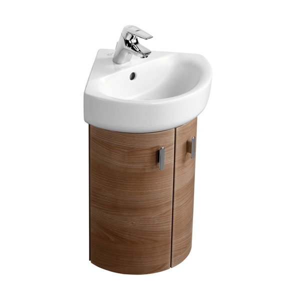Corner Basin And Vanity Unit : Image of Ideal Standard Concept Wall Hung Corner Basin Unit With Doors