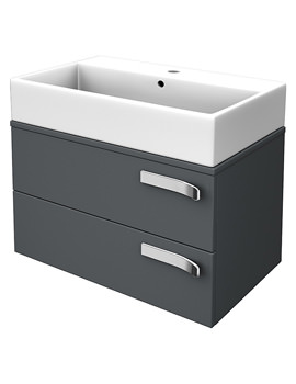 Strada 700mm Wall Hung Basin Storage Unit Gloss Grey