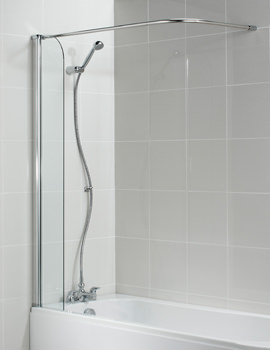 Connect 255mm Shower Guard With Corner Curtain Pole