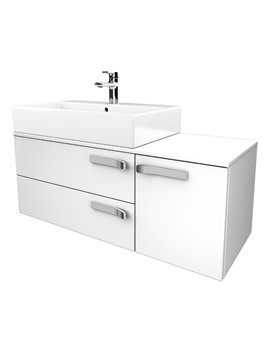 Strada 1050mm Left Hand Basin Storage Unit Gloss White