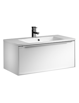 Vista 900mm White Wall Mounted Unit And Basin - VIS900WW