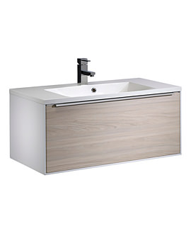 Vista 900mm Wall Mounted Unit White-Light Elm And Basin