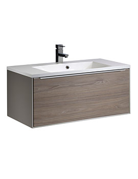 Vista 900mm Wall Mounted Unit Taupe-Dark Elm And Basin