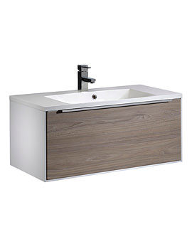 Vista 900mm Wall Mounted Unit White-Dark Elm And Basin
