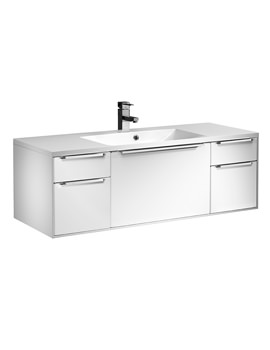 Vista 1200mm White 5 Drawer Wall Hung Unit With Basin