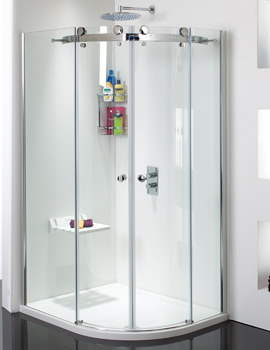 Related Phoenix Motion Frame-less RH Twin Door Offset Shower Quadrant With Tray Pack