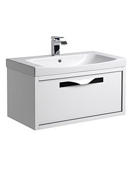 Breathe 800mm Wall Mounted Unit White-Grey And Basin