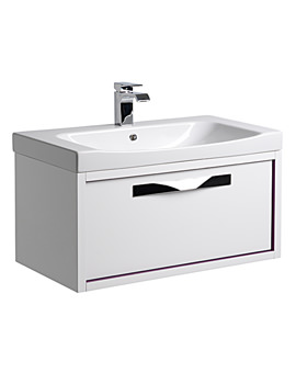 Breathe 800mm Wall Mounted Unit White-Plum And Basin