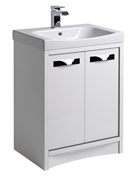 Breathe 600mm Freestanding Unit White-Grey Including Basin