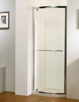 Original 800mm Silver Bowed Pivot Door With Tray And Waste