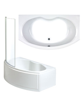 Napoli Left Hand Shower Bath With Panel And Screen 1700mm
