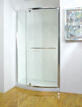 Original 1200mm Silver Bowed Pivot Door With Tray And Waste
