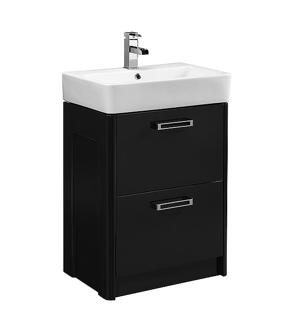 Large Image of Tavistock Q60 575mm Graphite Freestanding Unit And Ceramic Basin
