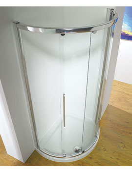 1000mm Silver Curved Slider Door Side Access With Tray And Waste