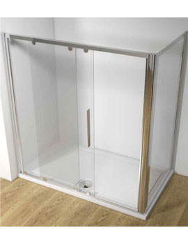 Original Straight 1000mm Sliding Shower Door With Tray And Waste