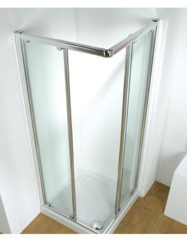 Original 800mm Silver Corner Slider Shower Door With Tray And Waste