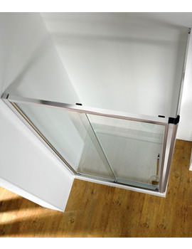 Original Straight 1200mm Silver Sliding Shower Door With Tray And Waste
