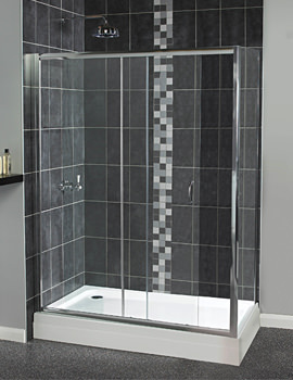 Aqualux Sliding Shower Door Including With Side Panel 1200x800mm