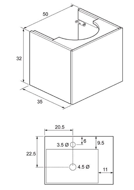 Technical image of bauhaus elite 500mm single drawer steel wall hung