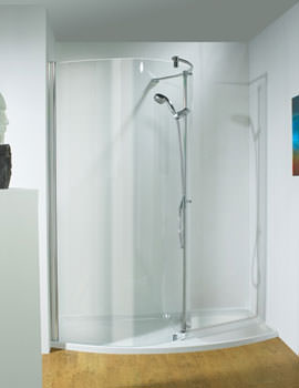 1400mm RH Curved Recess Walk-In Package With Shower Tower