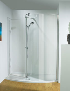 1400mm LH Curved Recess Walk-In Package With Shower Tower