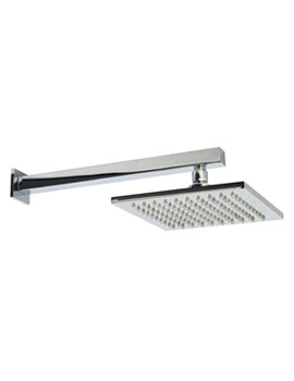 Stainless Steel Square Fixed Shower Head And Wall Mounted Arm