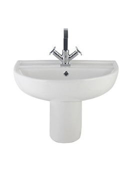 Balterley Reflection 500mm 1 Tap Hole Basin With Semi Pedestal