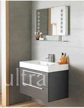 Ultra Silhouette Grey Wall Hung Basin Unit And Latitude Mirror With Shelf