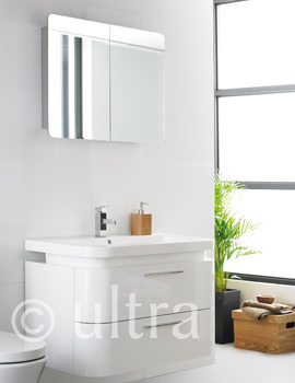 Ultra Bias Wall Hung Basin Unit With Mimic Stainless Steel Mirror Cabinet