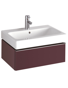 3D Washbasin And Plum Vanity Unit 1 Drawer 600mm