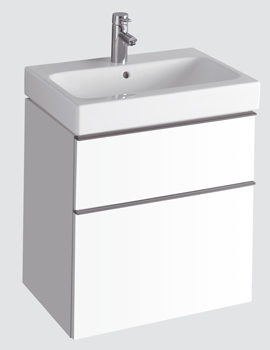 3D 600mm Basin And Alpine White 2 Drawer Vanity Unit