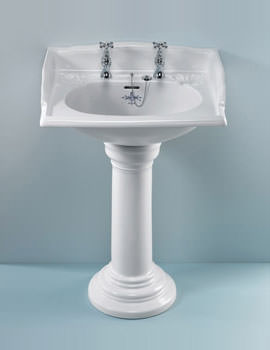 Victorian 635mm White 2 Taphole Basin - VCBASPE2WHIBL