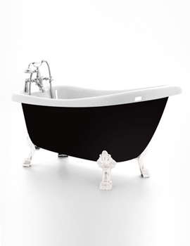 Crystal Black Slipper Bath 1680 x 720mm With Chrome Feet