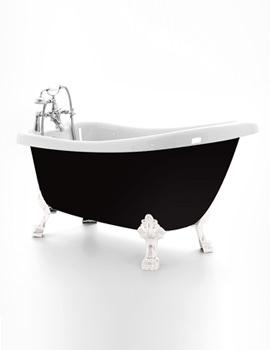 Crystal Black Slipper Bath 1680 x 720mm With Chrome Feet